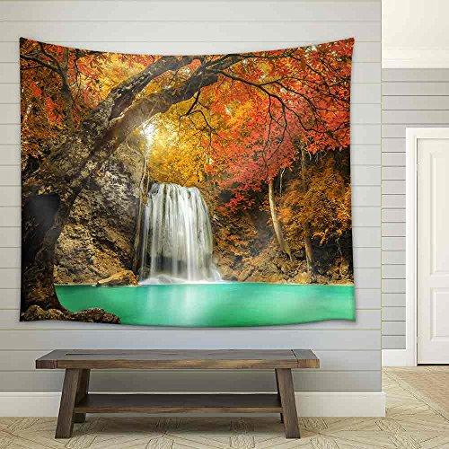 Erawan Waterfall in Kanchanaburi Thailand Fabric Wall