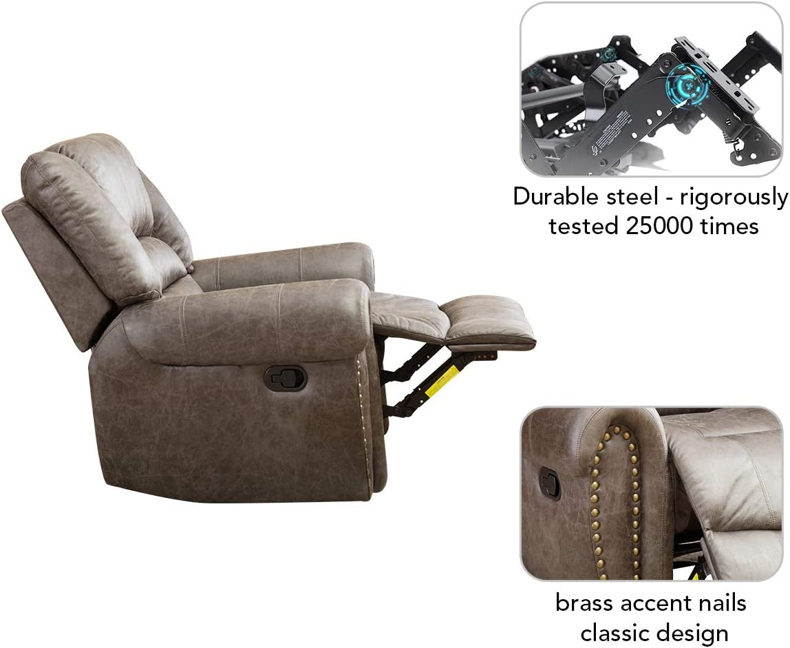 BONZY Oversized Recliner Leather Lounge Chair durable steel