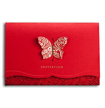 wishmade chinese red wedding engagement invitations card with butterfly bridal shower invitations kit cw504 1