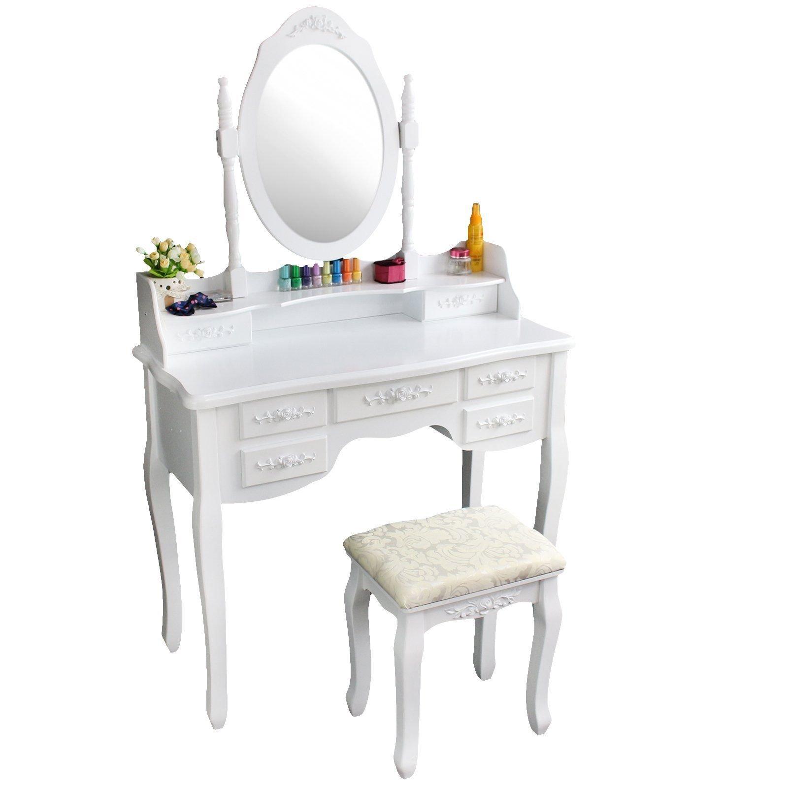 White Wood Makeup Vanity Table Set Mirror Stool Dressing Table Bedroom Furniture