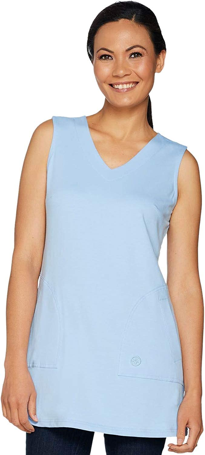 Linea by Louis Dell'Olio Womens Knit V-Neck Tunic Tank Medium Blue A290991