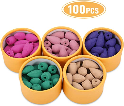 100Pcs Assorted Lavender Incense Cones Mixed Scents Backflow Burner Home Natural