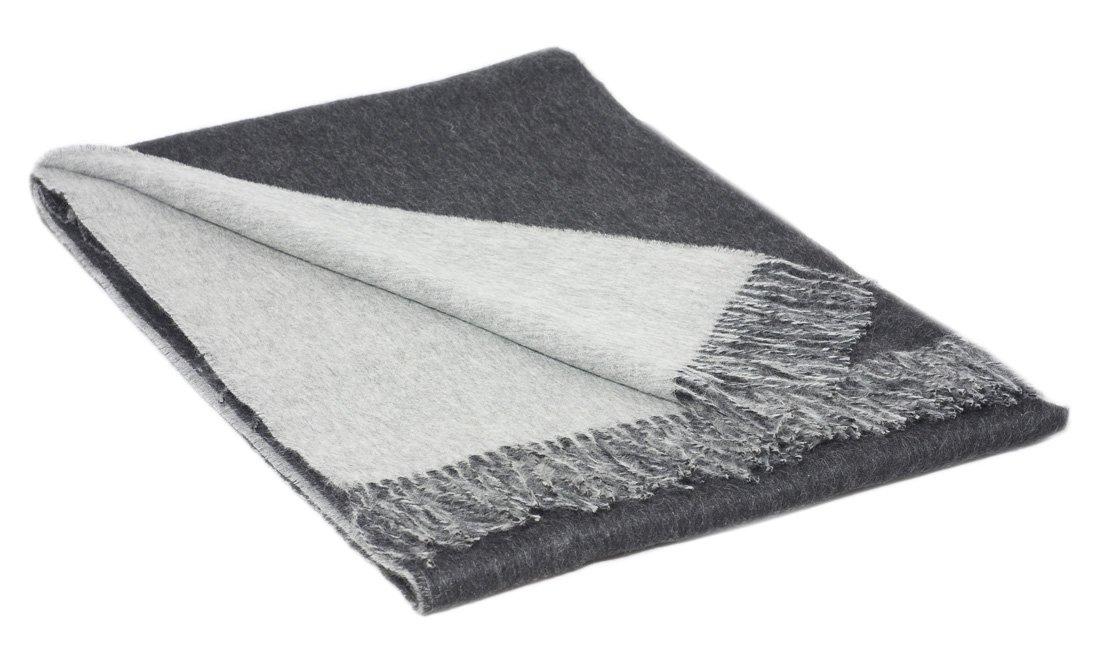 Inwool Plaid Überwurf Alpakadecke 100% Baby Alpaka, 130x180cm - Kollektion Colour Doubleface - Doppelseitig Schwarz Grau