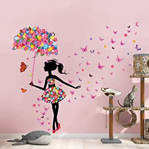 Supzone Flower Fairy Wall Decal Girl with Umbrella Wall Sticker Colorful Butterfly Floral Wall Decor DIY Vinyl Mural Art for Girls Baby Nursery Bedroom Living Room Playroom