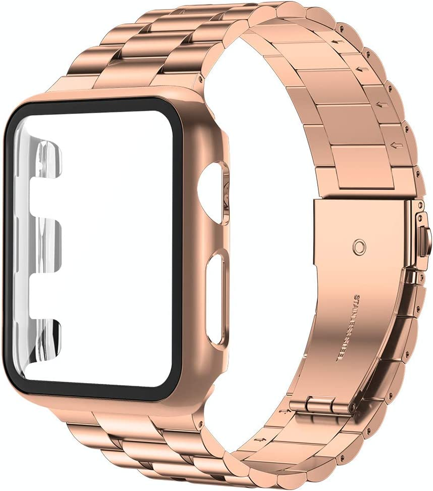 baozai Compatible with Apple Watch Band 44mm 42mm 40mm 38mm with Case, Stainless Steel Band with Tempered Glass Screen Protector Full Cover for iWatch Series 5/4/3/2/1 (Rose Gold Band + Case,42mm)