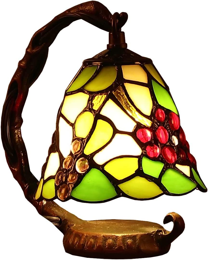 Bieye L10035 Grapes Tiffany Style Stained Glass Table Lamp with 6-inch Wide Lampshade Hanging on The Base Green