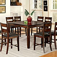247SHOPATHOME IDF-3187PT-9PC Dining-Room-Sets, Brown