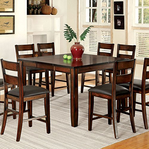 BAHOM 7 Piece Kitchen Dining Table Set for 6, Glass Table and PU Leather Chairs Set of 6 for Breakfast, Black