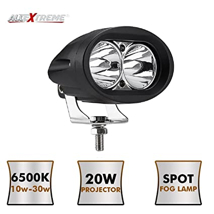 AllExtreme EX2OF1P 2 LED Oval CREE Fog Light 3000 LM Spot Led Off Road  Driving Projector Lamp with Mounting Brackets for Motorcycles and Cars  (20W,