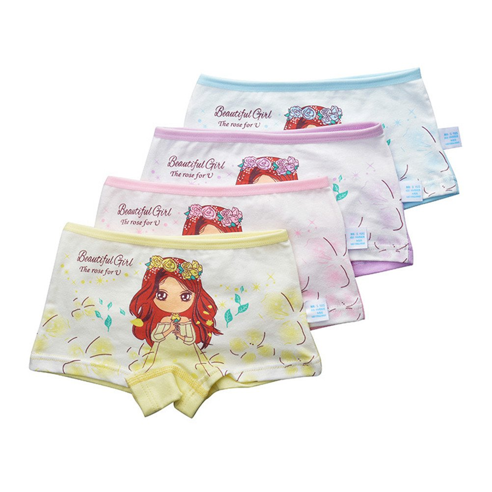 adiasen Cute Princess Little Girls' 4-Packs Cotton Underwear Hipster Knickers Briefs Boxer