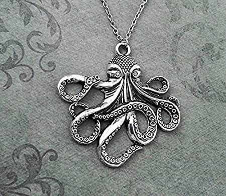 Octopus necklace very large octopus jewelry octopus pendant necklace octopus necklace very large octopus jewelry octopus pendant necklace silver kraken necklace octopus gift octopus charm mozeypictures Choice Image