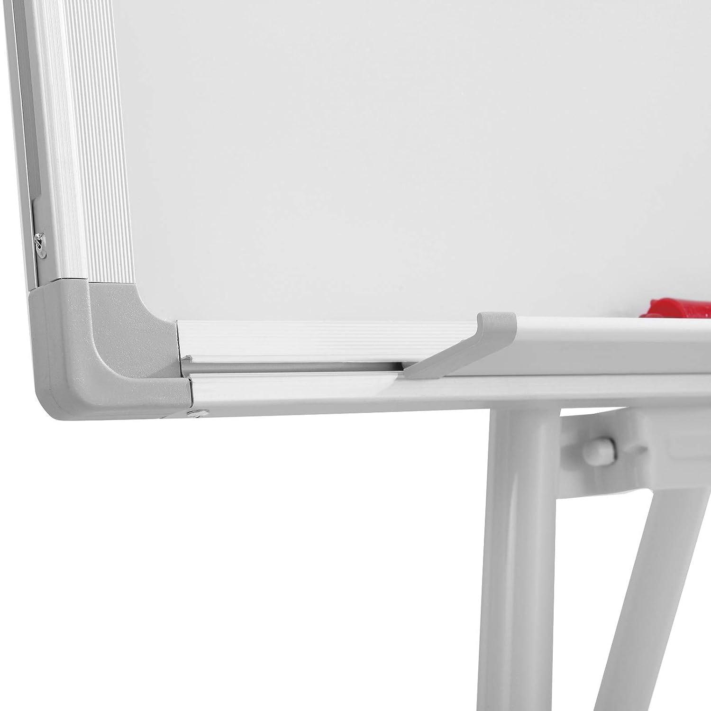 Marco de Aluminio Flipchart Pizarra Blanca con Soporte Pizarra Magn/ética con Caballete Rotafolio Brazos Extensibles Tablero de Notas Magn/ético Bandeja y Accesorios Altura Ajustable 60x90cm