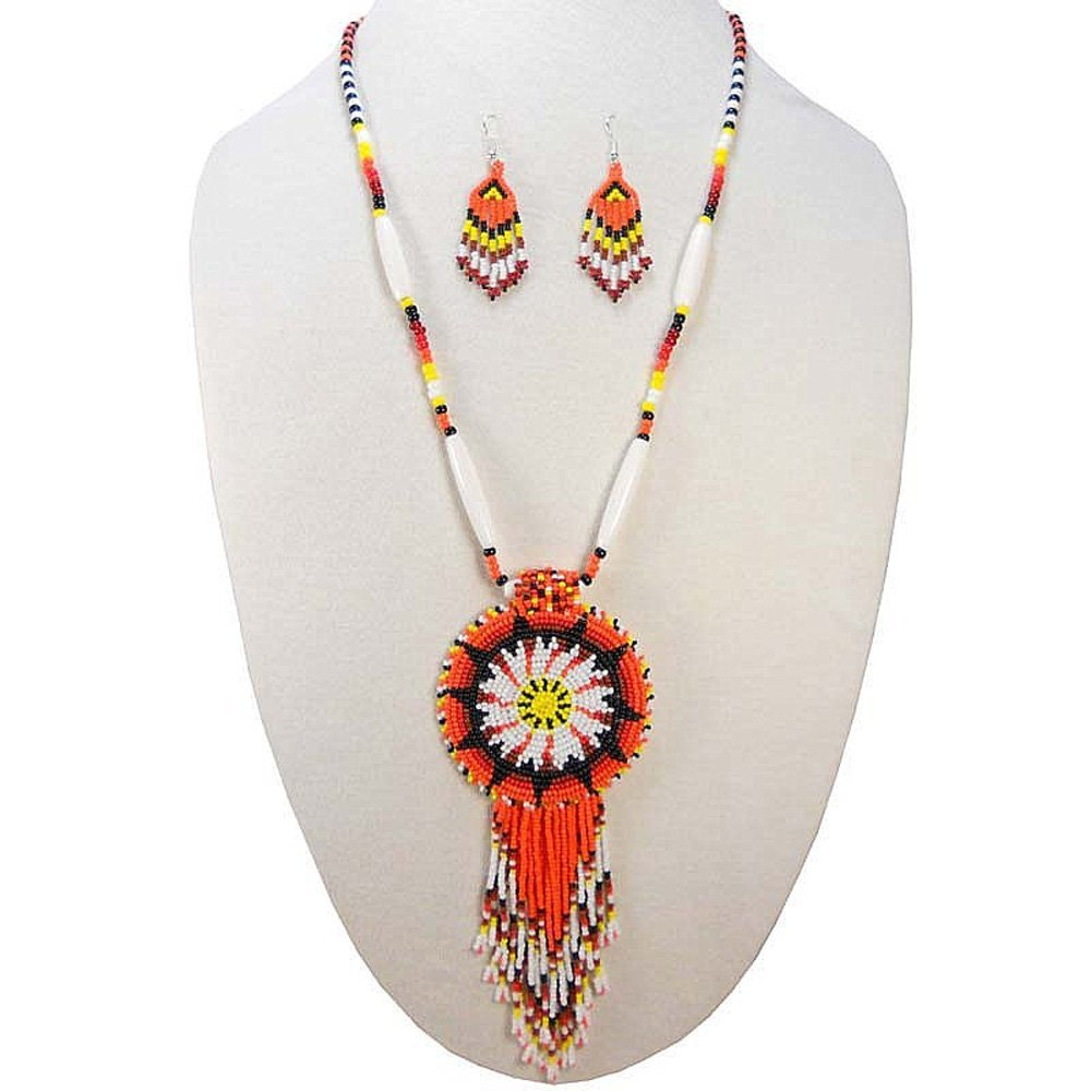 Viva ORANGE BLACK NATIVE STYLE STAR SEED BEADED MEDALLION NECKLACE EARRINGS SET S51/2