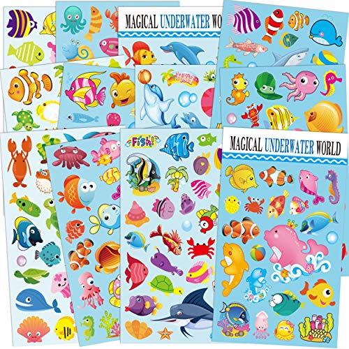 (HORIECHALY Sea World Stickers for Kids 12 Sheets with Angelfish, Sharks, Starfish, Sharks, Hippocampus, Octopus and More!Reusable Reward Stickers)