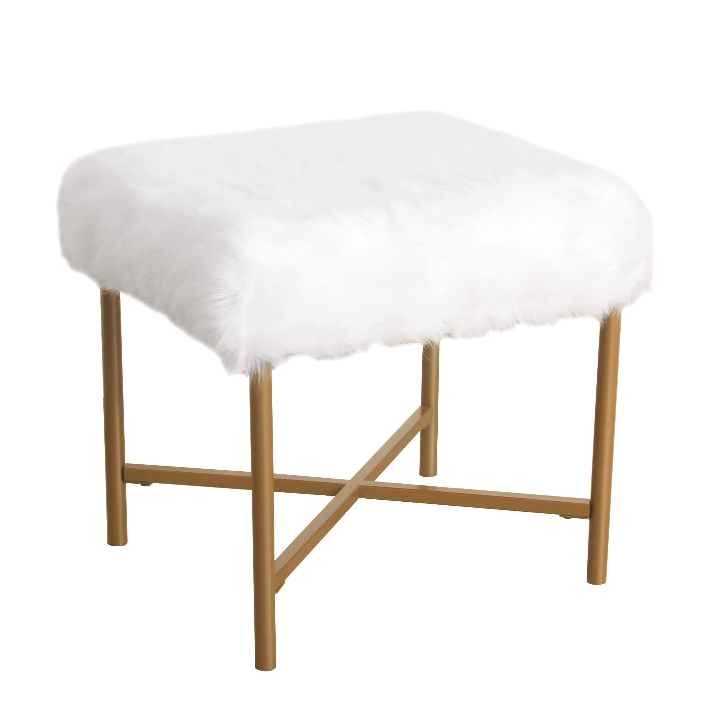 Kelly Faux Fur White Square Stool Solid Glam Metal by Unknown