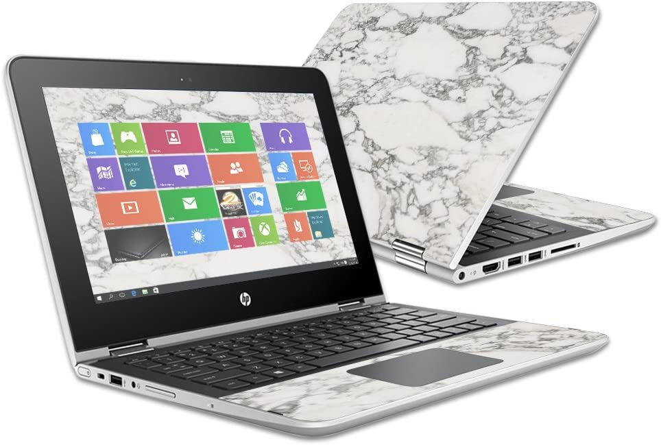 """MightySkins Skin Compatible with HP Pavilion x360 11.6"""" (2016) wrap Cover Sticker Skins White Marble"""