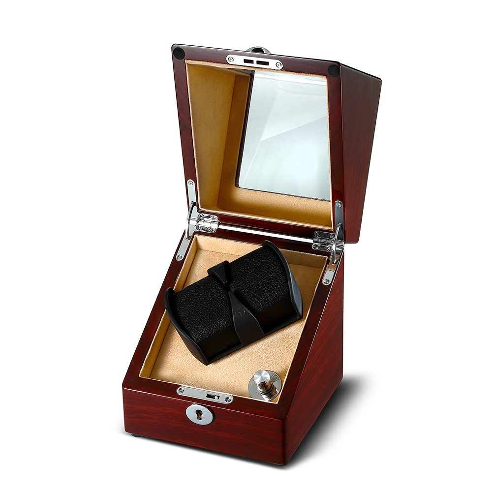 OLYMBROS Wooden Single Automatic Watch Winder Storage Box for 2 Watches with LED Light by Olymbros (Image #2)