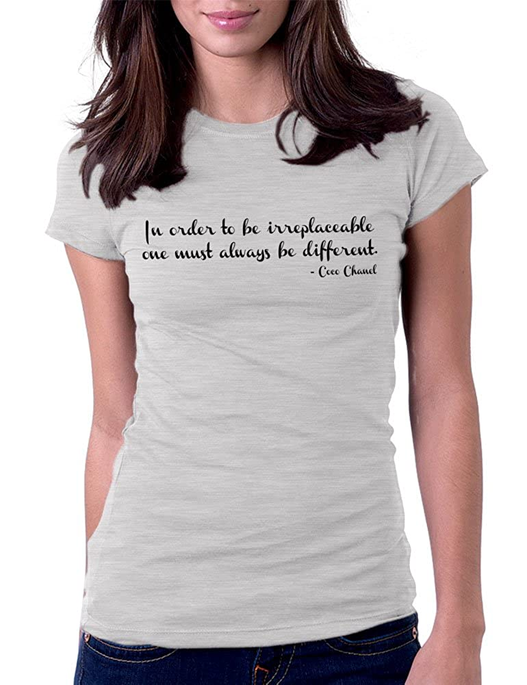 Amazon.com  Women s Irreplaceable Different Coco Chanel Tee T-Shirt   Clothing ea597f9348e