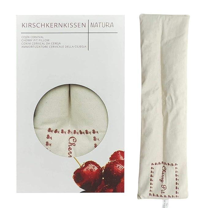 Certificado UMOI ecológico, cojines de cereza extra largo 350 gramos de carozos de cereza para relajación y bienestar, calentar en el horno microondas ...