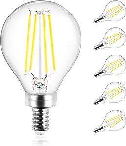 Ascher E12 Candelabra LED Light Bulbs 60 Watt Equivalent, 550 Lumens, Daylight White 5000K, Decorative G45 LED Globe Bulbs, Filament Clear Glass, Non-Dimmable, Pack of 5