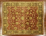 8' X 10' Burgundy Green Vegetable Dye Hand Knotted Handmade Wool Area Oushak Rug H404