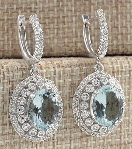 - wassana Elegant Women 925 Silver Aquamarine Gemstone Bridal Ear Stud Hoop Dangle Earring