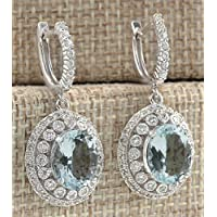 wassana Elegant Women 925 Silver Aquamarine Gemstone Bridal Ear Stud Hoop Dangle Earring