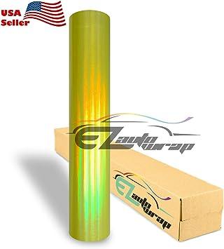 "*60/""x84/""  Holographic Yellow Rainbow Neo Chrome Car Vinyl Wrap Air Bubble Free"