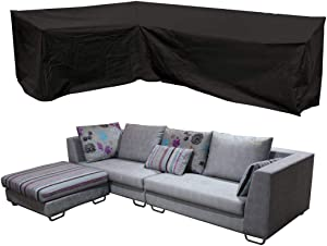 J&C Patio Furniture Sectional Couch Covers,78x105inches Premium Outdoor Waterproof Garden Sofa Cover L-Shaped Weather Protection Patio Sofa Cover, Outdoor Sectional Furniture Cover