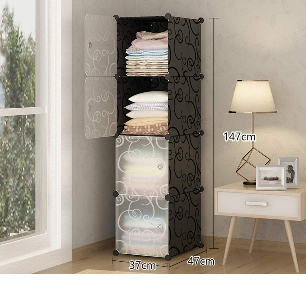 Portable Modular Wardrobe Armoire Clothes Closet, Garment Rack Polyresin Diy Dresser Storage Organizer Armoire Cubby Shelving Unit Multifunction Cabinet For Bedroom -black 37x47x147cm(15x19x58inch)