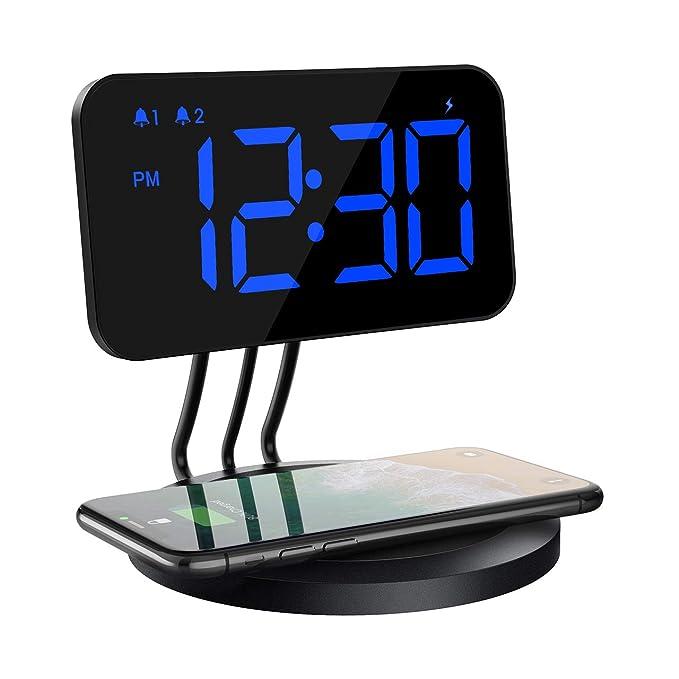 Mpow Reloj Despertador Digital con Cargador Inalámbrico, Brillo de 6 Niveles, Alarma Dual, 3 Tonos con 2 Niveles para iPhone X, 8, 8 Plus, Samsung ...