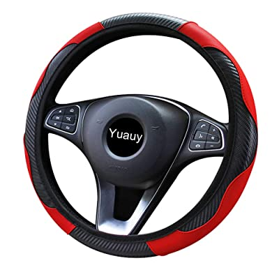 Yuauy Steering Wheel Cover Microfiber Leather Anti-Slip Universal Car Steering Wheel Cover Faux Leather for Car Accessories Auto Car Without Inner Ring (Red): Automotive