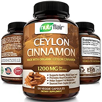 NutriFlair Ceylon Cinnamon (made with Organic Ceylon Cinnamon) 1200mg per Serving, 120 Capsules