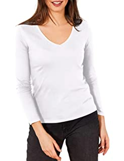 Berydale Camiseta de manga larga de mujer, con cuello de pico ...
