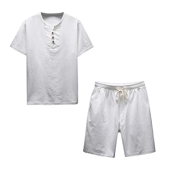 ZARLLE Conjunto De Hombres, Hombres Camisetas Casuales De Color SóLido De Tallas Grandes Verano De