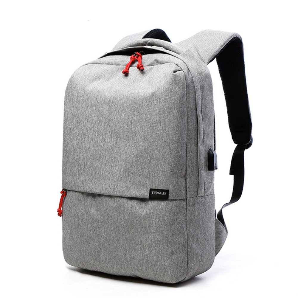 School Backpack Lightweight and Rainproof Color Blocking Backpack with USB Charging Port Compatible for Laptop Within 15.6 (White and Gray)