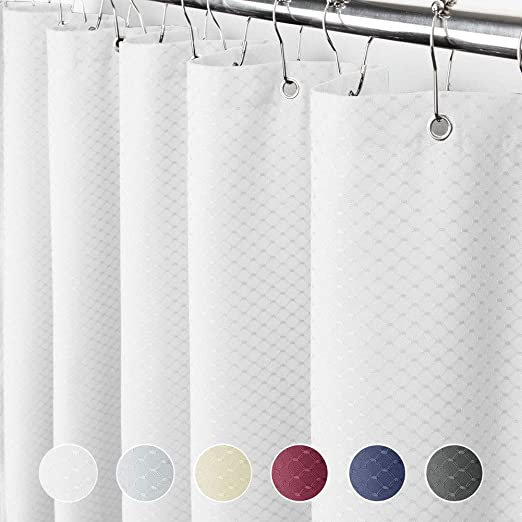 Whi Hermosa Collection Heavy Fabric 230 GSM Waffle Shower Curtain 72-Inch-by-72