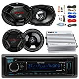 Kenwood KDCBT32 Car CD Player Receiver Bluetooth USB AUX Radio - Bundle Combo w/ 2x JVC 6x9'' 3-Way Vehicle Coaxial Speakers + 2x 6.5'' Inch 2-Way Audio Speakers + 4-Channel Amplifier +Amp Kit