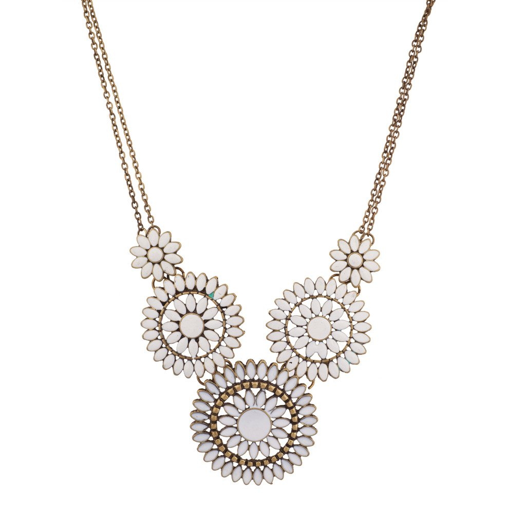 Amazon Lux Accessories Burnished Boho White Floral Flower