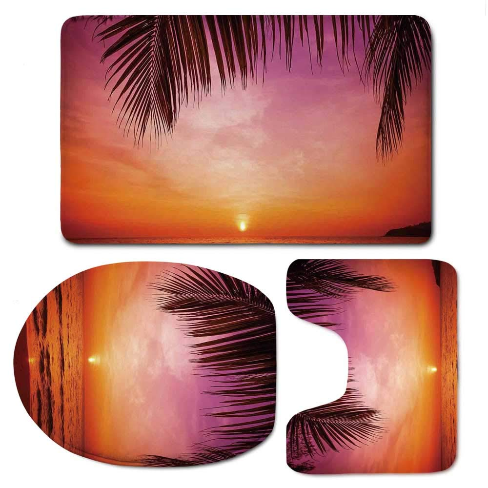 YOLIYANA Tropical Decor Bathroom 3 Piece Mat Set,Exotic Sunset Above Sea Scene from Coconut Palm Tree Leaf Heaven Picture for Indoor,F:20'' W x31 H,O:14'' Wx18 H,U:20'' Wx16 H