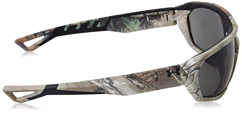 UA RAGE ANSI 63 mm SATIN REALTREE XTRA//BLACK FRAME//GRAY LENS Under Armour Mens Wrap Sunglasses