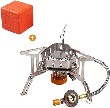 Estufa de Gas portátil para Acampar Mini Estufa para mochileros a Prueba de Viento con Encendido piezoeléctrico Quemador de Cocina al Aire Libre para ...