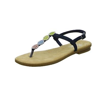 Rieker Damen Zehentrenner Blau, Schuhgröße:EUR 38