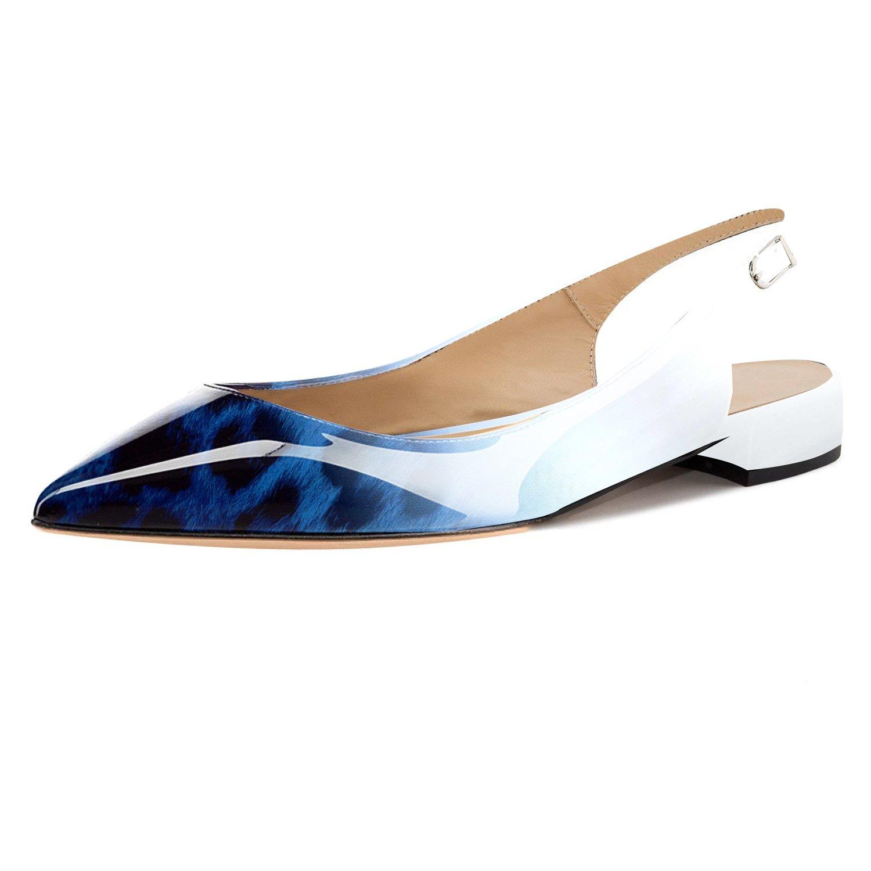 Eldof Women Low Heels Pumps | Pointed Toe Slingback Flat Pumps | 2cm Classic Elegante Court Shoes B07C88C5G4 5 B(M) US|Leopard Blue