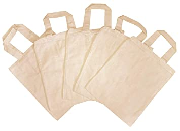 5 bolsas de tela para niños, sin impresión, para pintar ...