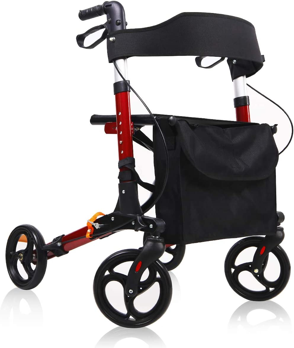 Give Me Medical Rollator Walker, 4 Wheel Foldable Compact Rolling Walker with Seat, Bag and 8 inch Wheels (Red) 61SfjEABjgLSL1200_