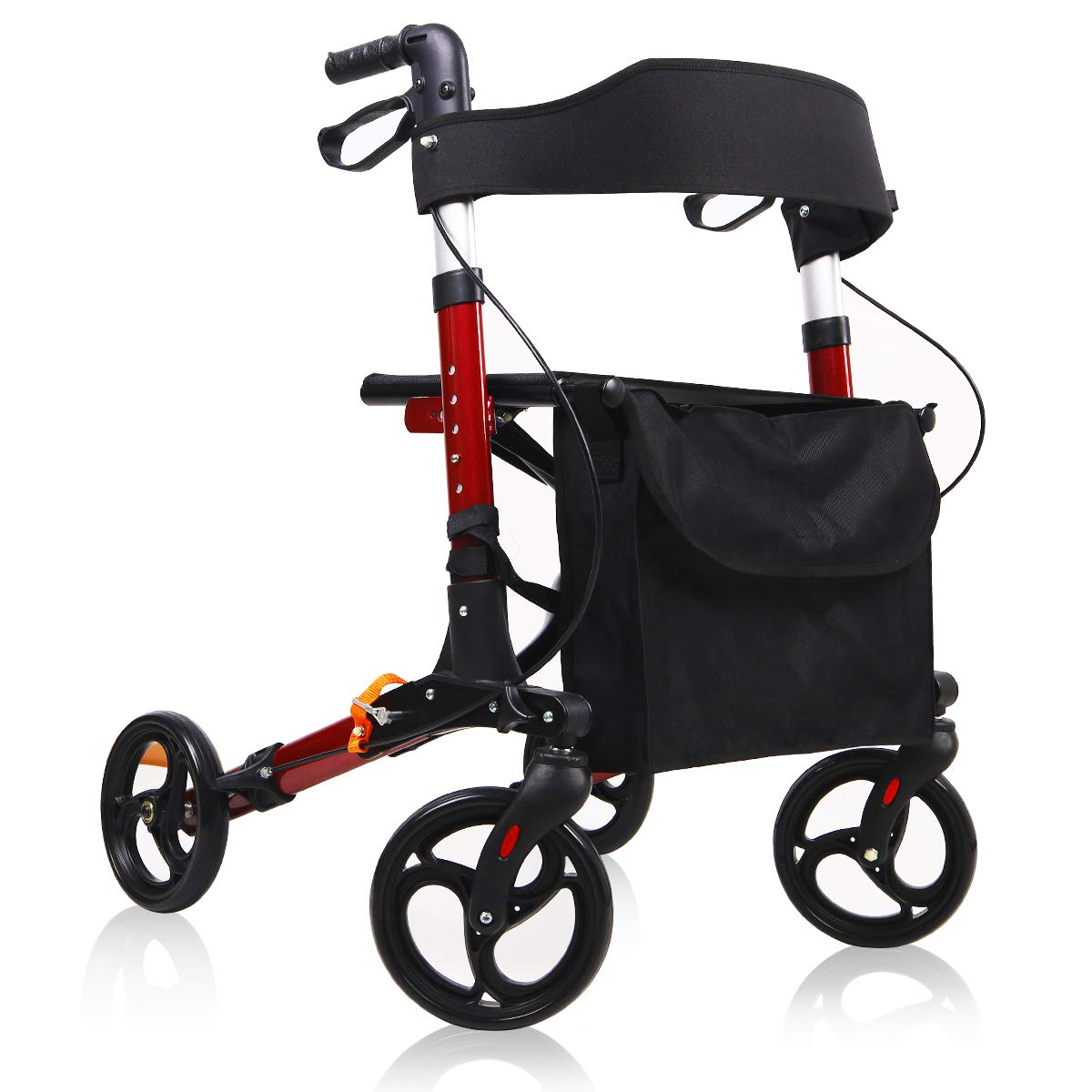 Give Me Medical Rollator Walker, 4 Wheel Foldable Compact Rolling Walker with Seat, Bag and 8 inch Wheels (Red) by Give Me