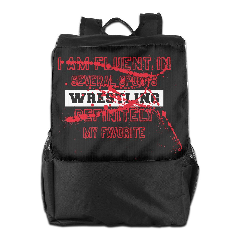 Outdoor Men And Women Travel Backpack Painting The Picture On The Backpack I Speak Fluent Wrestling Definitely Favorite