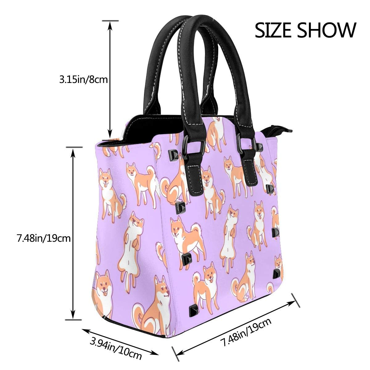 Pit Bull hund husdjur leende kvinnor exklusivt mode utsökt elegant äkta läder nit axelväska Cute Shiba Inu Dog