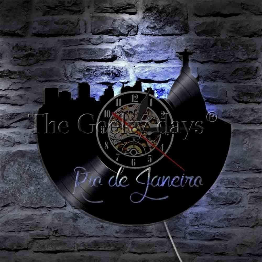 AGGG Reloj de Pared de Vinilo Reloj de Pared con diseño de Horizonte Reloj de Vinilo Reloj de Vinilo Mural LED Vista de la Ciudad brasileña Cristo Redentor Regalo de Viaje